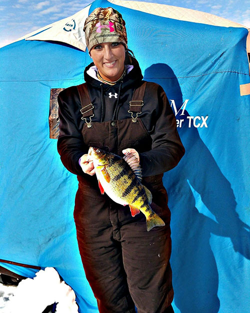 Ice Fishing Perch on Lake Gogebic
